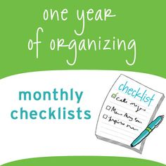 Monthly Organizing Checklists