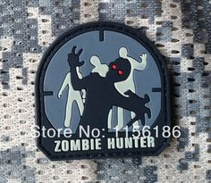 FREE SHIPPING ONE PIECE Blue color of ZOMBIE HUNTER  Rubber Badges Patches Velcro Custom PVC Patch-in Patches from Apparel & Accessories on ...