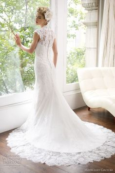 white lace wedding dress - old hollywood inspired