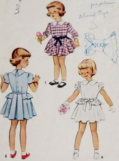 Vintage 1940s Child's Dress Pattern Peplum Chest by linbot1, $8.00