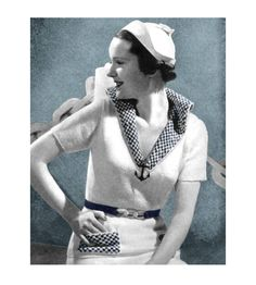 Vintage 1930s Paris Knitting Crochet Pattern Sailor Blouse Skirt Swing Coat Suit -- Just wish I knew how to knit... and had the time and patience to do so.