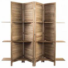 Biombo con estantes de madera natural en estilo rústico: un mueble auxiliar con doble encanto y doble utilidad. Decoración elegante y práctica.