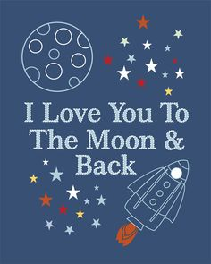 This set is adorable and matches quilt really well - Space, rocket and Moon Children's Wall Art, Nursery Wall Art, Kids Room Decor-Set of three 8x10. $24.00, via Etsy.