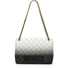 Moschino Ombre Quilted Large Shoulder Bag (€1.630) ❤ liked on Polyvore featuring bags, handbags, shoulder bags, black, black quilted handbag, moschino handbag, woven handbag, moschino purse and quilted handbags