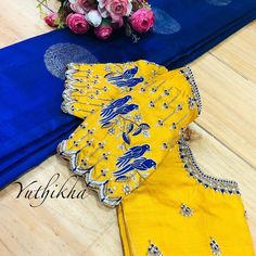 For bridal appointments contact 9894231384 ! - - - - For bridal appointments contact 9894231384 ! Wedding Saree Blouse Designs, Pattu Saree Blouse Designs, Stylish Blouse Design, Fancy Blouse Designs, Sari Blouse, Bow Blouse, Peasant Blouse, Colour Combo, Rave
