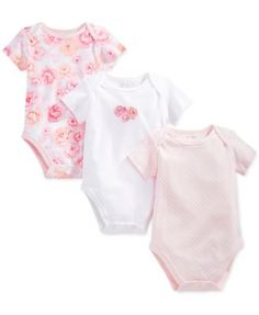 First Impressions Baby Girl 3-Pk. Bodysuits, Only at Macy's