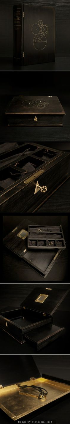 """The Dark Miracle Box, crafted of ebonized maple wood, brass and vintage piano ivory inlays, waxed linen pouches, and a 22k gold gilded hidden drawer. By Black Sheep & Prodigal Sons. """"Every Moment of Light is a Dark Miracle"""" -- Walt Whitman"""