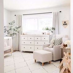 Baby Staples is due today! His nursery is pretty much finished (just want to get a floor pouf and blackout blinds) so I thought I would sha… Baby Nursery Decor, Baby Bedroom, Project Nursery, Room Baby, Nursery Room Ideas, White Nursery Furniture, Baby Furniture, Nursery Layout, Chic Nursery