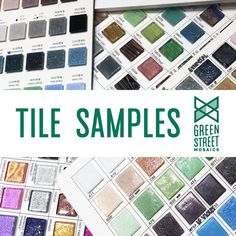 Sample Set Green Street, Mirror Mosaic, Tiles Texture, Colored Glass, Color Schemes, Canning, Mosaics, Coloured Glass, R Color Palette