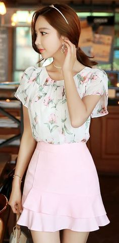 StyleOnme_Asymmetrical Tiered Skirt #baby #light #pink #pastel #floral #girly…