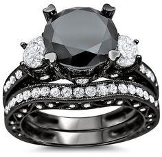 4.15ct Black 3 Stone Round Diamond Engagement Ring Bridal Set 18k Black Gold 1
