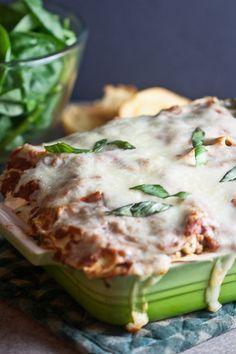 Turkey, Mushroom, and Spinach Lasagna...ground turkey, turkey pepperoni, ricotta, mozzarella, crimini mushrooms...