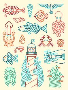 Fish Illustration, Simple Illustration, Illustration Editorial, Sirene Tattoo, Line Art, Fish Graphic, Affinity Designer, Fish Patterns, Simple Art