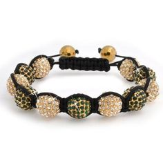 Bling Jewelry Shamballa Inspired Bracelet Unisex Green Clear Gold Crystal Beads