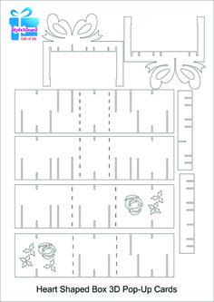 Heart Shaped Box Valentine's Card 3D Pop-Up Card/kirigami pattern 3