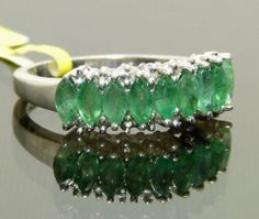 Genuine Emerald & Diamond Anniversary Band Ring Platinum / 925 Sterling Silver $129.99