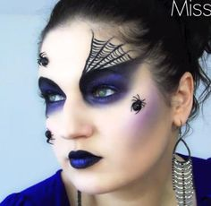 Spider Queen Black Widow Halloween Makeup - includes full video tutorial (halfway down page)