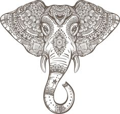 SVG DXF elephant Bali ethnic Digital Download files by redklovers