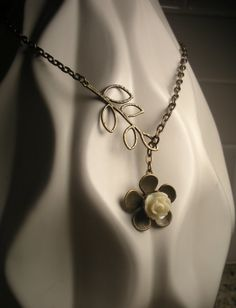 Cream Rose Cabochon Antique Brass Lariat Necklace by TwinFlameDesigns, $15.74
