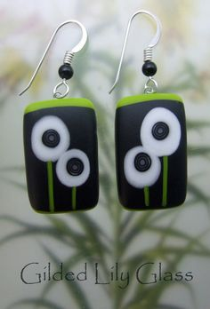 White Bitty Bloom Earrings Fused Glass Jewelry by gildedlilyglass