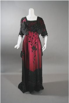 1912 red and black beaded evening dress, Contentment Farms Antiques