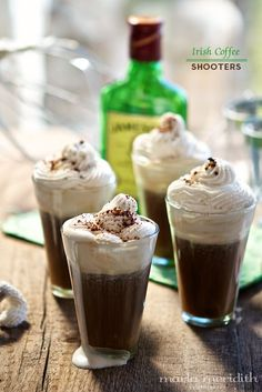 Irish Coffee Shooters (Hot or Iced) | Cocktail Recipe on FamilyFreshCooking.com @Marla Landreth Meridith