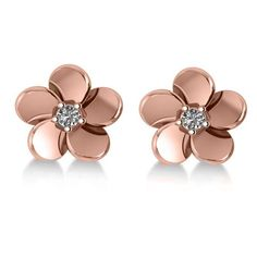 Diamond Flower Blossom Stud Earrings 14k Rose Gold (0.06ct)