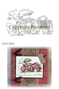 handmade card ... masculine card ... adorable little guy in Vintage gard driving a little red roadster ... reminds me of Eli ...