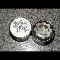 Crown The Empire custom plugs! Our fans are so creative :) Photo by crowntheempire Plugs Earrings, Gauges Plugs, Tapers And Plugs, Band Outfits, Tunnels And Plugs, Stretched Ears, Band Merch, Peircings, Body Mods