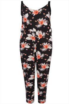 Black And Orange Floral Print Jersey Jumpsuit