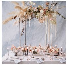 pretty neutrals, soft scattered blooms and an ethereal pampas grass backdrop - everything about this tablescape feels so right!regram from - Наталья Лукьянченко - Grass Centerpiece, Wedding Table Centerpieces, Flower Centerpieces, Wedding Tables, Elegant Wedding, Floral Wedding, Wedding Bouquets, Wedding Flowers, Wedding Colors
