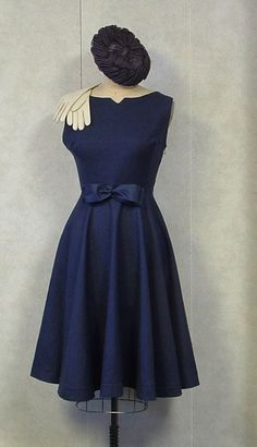 Navy circle skirt dress 1950s style HANDMADE Vintage Couture  Mad Men Rockabilly  Bombshell Princess Formal Wedding. $250.00, via Etsy.