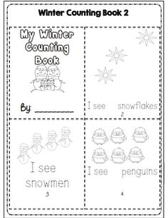 Kdg winter counting mini book part of 30 pg common core aligned winter and math ela packet Common Core Activities, Kindergarten Math Activities, Common Core Ela, Math Literacy, Preschool Learning, Math Resources, Fun Learning, Counting To 120, Counting Books