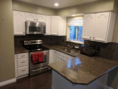 Oak kitchen refinished by Chameleon Painting SLC, UT in extra white. Refinishing Cabinets, Kitchen Refinishing, Oak Kitchen, Kitchen Cabinets, Cabinet, Refinishing Furniture, Home Decor, Kitchen, Laundry Room Cabinets