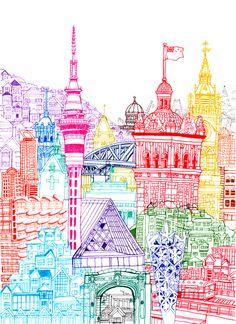 Illustrator cheism new zealand towers city drawing, a level art, high school art, Illustrations, Illustration Art, Architecture Artists, City Drawing, A Level Art, City Art, Doodle Art, Framed Art Prints, Art Inspo