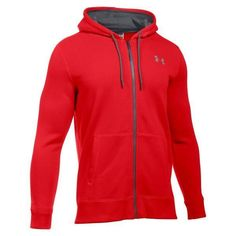 Under Armour Mens Rival Red Gray Fleece Full Zip Hoodie Sweatshirt M  1280781-600   13009b2021