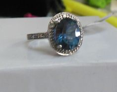 Ladies 10k White Gold Blue Indicolite Tourmaline & Diamond Accent Halo Ring #Unbranded #SolitairewithAccents