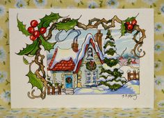 On these diamond jewel days sitting by a bright snow filled window reading a good book beats any present under the tree. Cute Cottage, Cottage Art, Retro Christmas, Christmas Art, Christmas Ornament, Ornaments, Addams Family Cartoon, Art Deco Illustration, Vintage Illustrations
