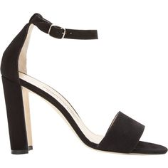 Manolo Blahnik Women's Lauratopri Ankle-Strap Sandals (€705) ❤ liked on Polyvore featuring shoes, sandals, black, high heel sandals, ankle tie sandals, black suede shoes, wide width sandals and high heeled footwear