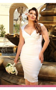 """Erin Dress in White- One of our best-selling bengaline wiggle dresses, available for bridal in classic white. The Erin Dress has a gathered neckline, and cross-over style bust, gathers at the shoulder, back zip, 7"""" back slit, and flatters nearly every figure! - See more at: http://www.pinupgirlclothing.com/erin-dress-white.html#sthash.NidW1TYr.dpuf"""