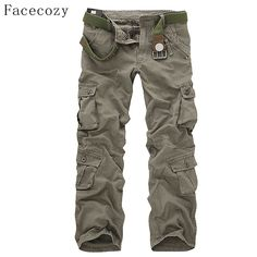 edb23f4f4d Facecozy Men Winter Tactical Military Sports Hiking Pants Male Outdoor  Multi-pockets Windproof Camping Trekking