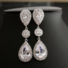 Bridal Jewelry Wedding Earrings Large Clear Cubic by poetryjewelry