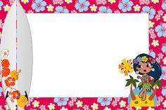 Festa Menina Havaiana - Kit Completo com molduras para convites, rótulos para guloseimas, lembrancinhas e imagens!