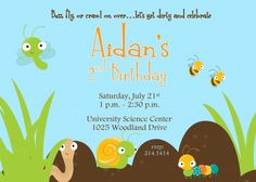 Bugs and Dirt themed Birthday Party Invitation