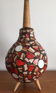 """Chalvignac mosaic lamp 23"""" high, 9.5"""" ball."""