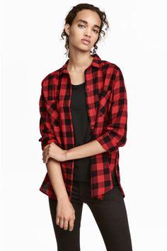 Camicia in cotone - Rosso/quadri - DONNA | H&M IT 1