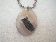 Teal Druzy Gray Quartz Pendant Necklace Sterling by jazzybeads