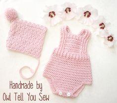 Items similar to Crochet Baby Romper - Crochet Romper- Handmade Baby Overalls - Crochet Onesie - Baby Romper - Baby Bodysuit - Light Pink Romper on Etsy Crochet Onesie, Crochet Bebe, Baby Girl Crochet, Crochet For Boys, Newborn Crochet, Crochet Baby Bonnet, Boy Crochet Patterns, Baby Patterns, Knitting Patterns