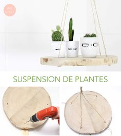 DIY 54 - Suspension de plantes - I do it myself Woodworking Furniture, Woodworking Crafts, Reclaimed Wood Projects, Do It Yourself Projects, Wood Shelves, Plant Hanger, Diy Crafts, Diy Suspension, Palette