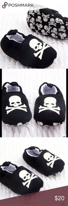 Skull Print Soft Cotton Baby Shoes Coming Soon These super cool and trendy shoes are available in size 3-6 months, and 6-12 months. Super comfy cotton fabric, soft soles. Easy slip on style. Black and white skull print. Unisex. More pics upon arrival. sandystarfish Shoes Baby & Walker